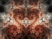 Orange floral fractal heart, valentine's day motive, digital artwork for creative graphic design — Stock Photo