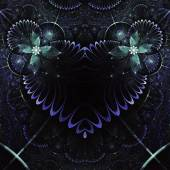 Dark floral fractal heart, valentine's day motive, digital artwork for creative graphic design — Stock Photo