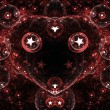 Red fractal heart with stars, digital artwork for creative graphic design — Stock Photo #62040837
