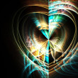 Gold and blue fractal heart, digital artwork for creative graphic design — Stock Photo #62041019