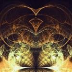 Sparkly gold fractal heart, digital artwork for creative graphic design — Stock Photo #62041211