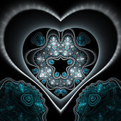 Dark blue clockwork fractal heart, digital artwork for creative graphic design — Stock fotografie