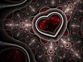Red clockwork fractal heart, digital artwork for creative graphic design — Stock fotografie