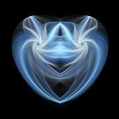 Cuore blu isolato frattale, opera d'arte digitale per il disegno grafico creativo — Foto Stock