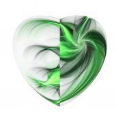 Isolated green fractal heart, digital artwork for creative graphic design — Stok fotoğraf