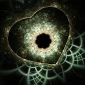 Green fractal heart, digital artwork for creative graphic design — Stock Photo