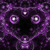 Dark fractal heart with stars, digital artwork for creative graphic design — Стоковое фото
