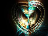 Φράκταλ χρυσό και μπλε καρδιά, ψηφιακά έργα τέχνης για δημιουργική Γραφιστικής — Φωτογραφία Αρχείου