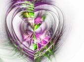 Light colorful fractal heart, digital artwork for creative graphic design — Stock fotografie