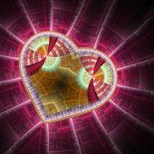 Red fractal heart, valentine's day motive, digital artwork for creative graphic design — Stock fotografie