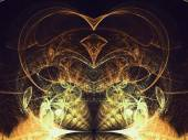 Sparkly gold fractal heart, digital artwork for creative graphic design — Stock Photo