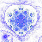 Blue fractal heart, digital artwork for creative graphic design — Stock fotografie
