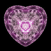 Isolated purple fractal heart, digital artwork for creative graphic design — Stock Photo