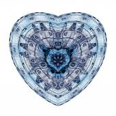 Isolated blue fractal heart, digital artwork for creative graphic design — Stock Photo