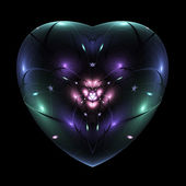 Colorful fractal flower in isolated heart, digital artwork for creative graphic design — Stock fotografie