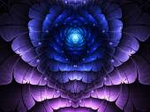Blue and purple fractal heart, valentine's day motive, digital artwork for creative graphic design — ストック写真
