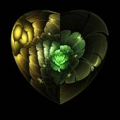 Green flower in isolated fractal heart, digital artwork for creative graphic design — Stock Photo