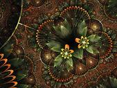 Orange fractal floral heart, digital artwork for creative graphic design — Stock fotografie