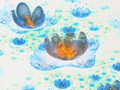 Blue and orange fractal flowers, digital artwork for creative graphic design — Stock Photo