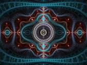 Red and blue fractal clockwork, digital artwork for creative graphic design — Stock Photo