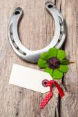 Horseshoe and four leaf clover with empty tag — Stock fotografie