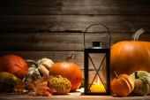 Lantern with candle and  pumpkins — Fotografia Stock