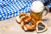 Bavarian beer mug and pretzels — Stock Photo