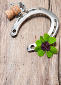 Horseshoe, shamrock and champagne cork on old wooden — Stok fotoğraf