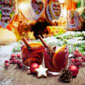 Mulled wine on german christkindl markt — Stock Photo