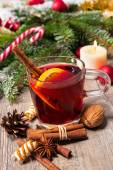 Glass of red mulled wine — Stock Photo