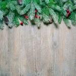 albero di Natale abete su una tavola di legno — Foto Stock #57524279