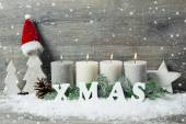 Background with candles and snowflakes for Christmas — Stock Photo