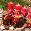 Red mulled wine on table with burning candles — Stock Photo #59807993