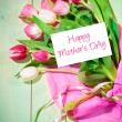 Bouquet of  tulips and card — Stock Photo #61877687