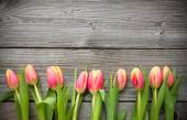 Fresh tulips arranged on old wooden background — Foto Stock