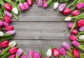 Tulips arranged on old wooden background — Foto de Stock