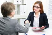 Job applicant having interview — Stock Photo