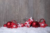 Christmas decorations with gift boxes — Stock Photo