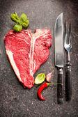 Raw fresh meat T-bone steak — Stock Photo