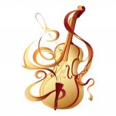 Abstract vector musical instrument gold violin — Stock Vector