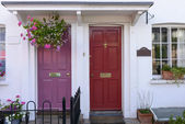 Purple and red terrace doors, Henley on Thames — Stock Photo