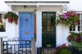 Blue and black terrace doors, Henley on Thames  — Stock Photo