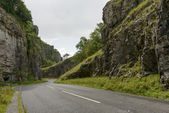 Rocks and road at Cheddar gorge, Somerset — Stock Photo