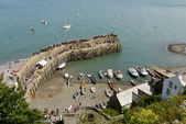 Harbour aerial view before the Regatta begins, Clovelly — Stock Photo