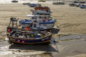 Boats aground at ST. Ives, Cornwall — Stock Photo