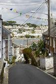 Steep street at Polruan, Cornwall — Foto de Stock