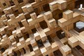 Wood joints at Japan pavilion , EXPO 2015 Milan — Stock Photo