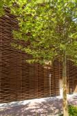 Wooden facade at coffee cluster, EXPO 2015 Milan — Stock Photo