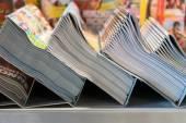 Piles of magazines in the kiosk — Stock Photo