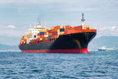 Commercial cargo ship carrying containers — Stok fotoğraf